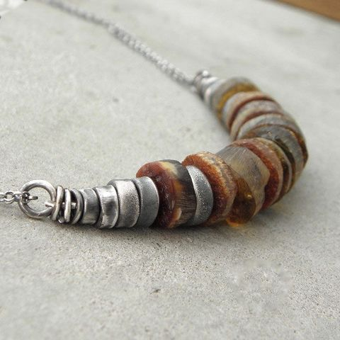 OXIDISED,SILVER,NECKLACE,With,RAW,AMBER,Amber necklace, sterling silver jewellery, handmade jewelry, bohemian necklace