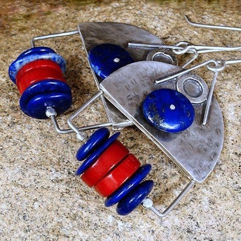 One,Half,|,Silver,Dangle,Earrings,With,Lapis,Lazuli,&,Coral,Silver  Lapis Lazuli Dangle Earrings, Coral, boho jewellery shop