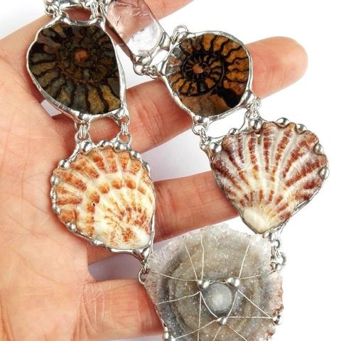 Rose,and,Sea,|,SEMI-PRECIOUS,STONES,&,AMMONITES,NECKLACE,Gemstone Necklace, ammonite, handmade jewellery store, boho necklace