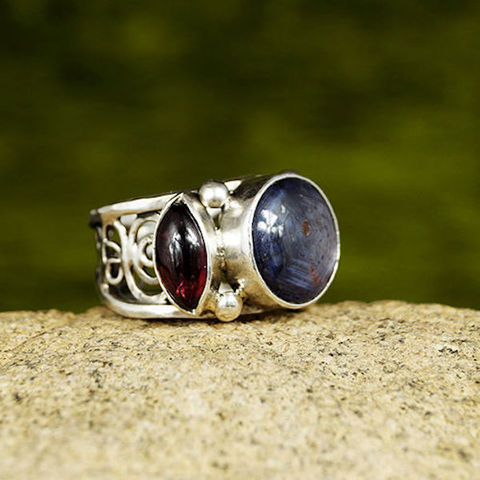 SILVER,Ring,With,Ruby,&,Garnet,Silver Ruby Ring, Garnet bohemian ring, silver jewellery shop