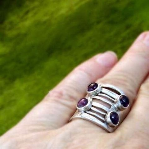 The,Corset,|,SILVER,Ring,With,Amethysts,Silver Amethysts Ring, bohemian jewellery, independent online shop