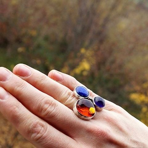 Three,Spheres,|,MULTI,STONE,SILVER,RING,Multi-stone Silver Ring, luxury gemstone jewellery shop, bohemian amber ring