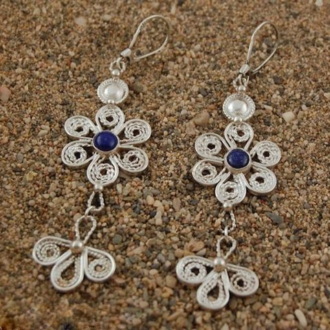 Tiznit,|,SILVER,LAPIS,LAZULI,DANGLE,EARRINGS,Silver Lapis Lazuli Dangle Earrings, filigree silver jewellery, bohemian earrings