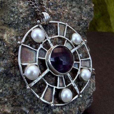 Wind,Rose,|,SILVER,Pendant,With,Amethyst,And,Pearls,Amethyst Silver Pendant, pearl handmade jewellery, bohemian pendant