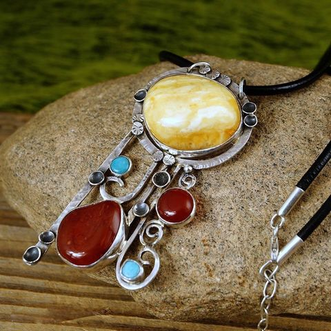 Composition,With,AMBER,|,SILVER,MULTI,STONES,PENDANT,NECKLACE,Silver Amber Pendant, multi stones necklace, bespoke bohemian jewellery shop