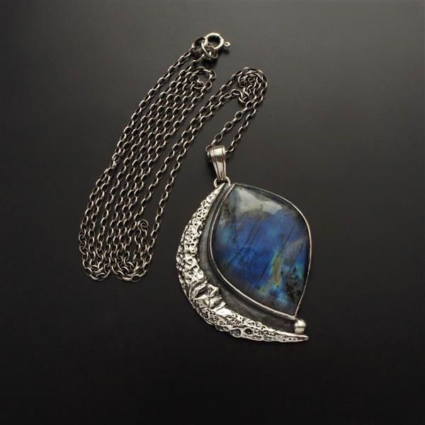 The Stranger | SILVER BLUE LABRADORITE PENDANT NECKLACE - product images  of