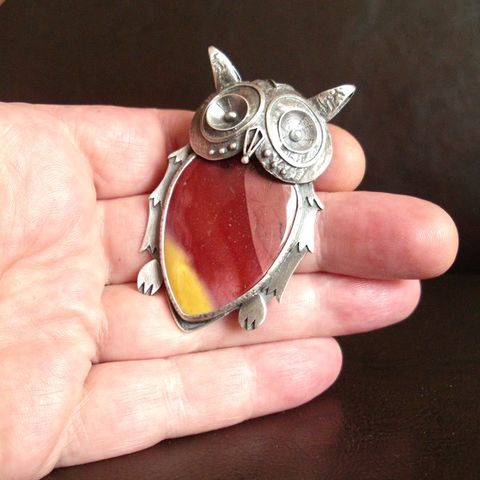 Owl,Silver,&,Mookaite,Pendant,Silver Owl Pendant, Mookaite necklace, bohemian jewellery, silver chamber jewellery online