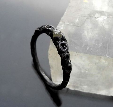 I,see,something,beautiful,in,your,dark,,dark,soul,|,Black,Oxidized,Silver,&,Raw,Diamond,Ring,Raw Diamond Ring, black oxidised jewellery, handmade jewellery online store