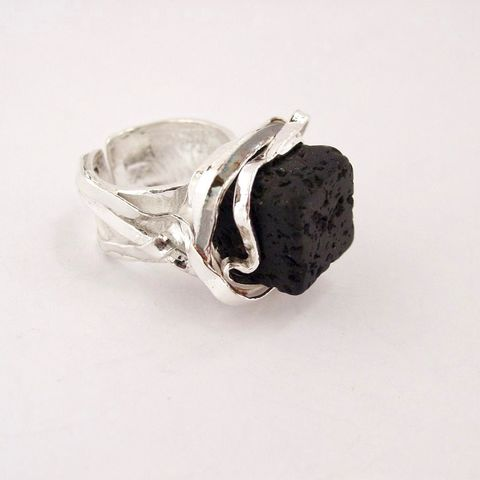 Sterling,Silver,Ring,With,Lava,Sterling Silver Ring With Lava, Silver Jewellery