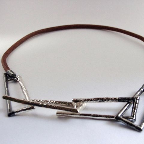 IM,II,|,SILVER,&,LEATHER,CHOKER,NECKLACE,Sterling Silver Necklace, leather choker, handmade bespoke jewellery
