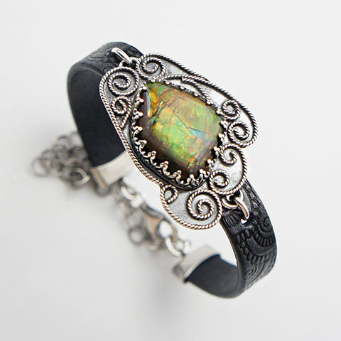 At,The,Bottom,Of,Green,Dream,|,Silver,&,Leather,Bracelet,With,Ammolite,Silver Ammolite Bracelet, leather bracelet, bohemian style, boho shop
