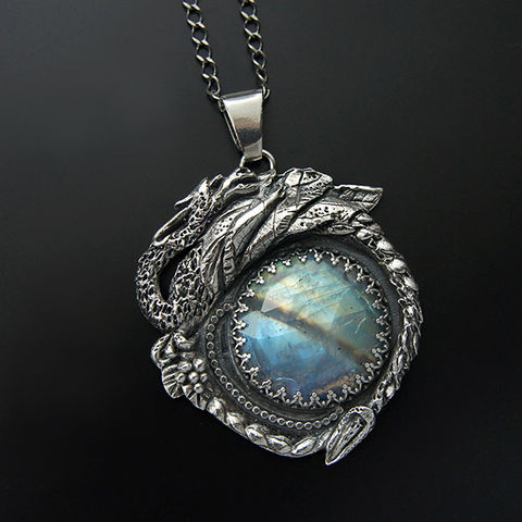 Behind,The,Ninth,Galaxy,|,Silver,Dragon,Pendant,With,Moonstone,Dragon silver pendant, moonstone necklace, fairytale jewellery