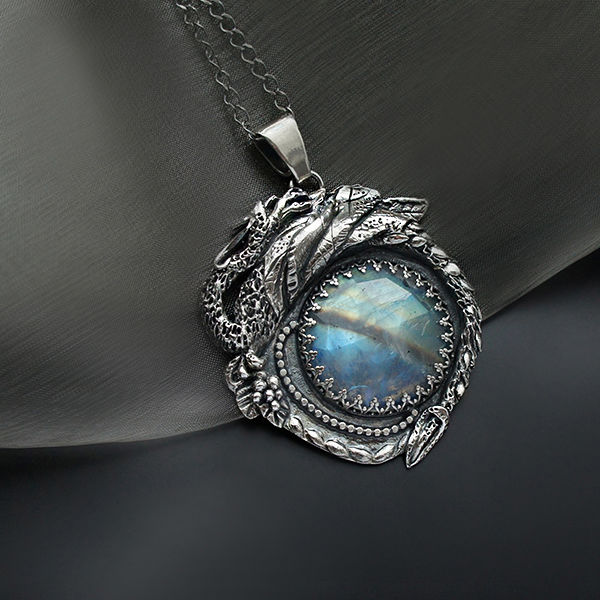 Behind The Ninth Galaxy | Silver Dragon Pendant With Moonstone  - product images  of