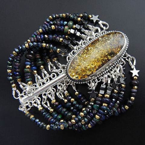 The,Dust,From,Stars,|,Silver,&,Amber,Bracelet,With,Gemstones,Silver Amber Bracelet, gemstone jewellery, fairytale jewellery