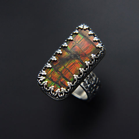 Dragon's,Amulet,|,Silver,Ammolite,Ring,Silver Ammolite Ring, silver art clay jewellery, boho style