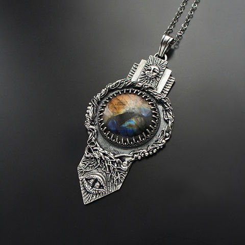 Enchanted,Eye,Of,The,Light,|,Silver,Labradorite,Pendant,Necklace,Silver Amulet Necklace, labradorite pendant, fairytale jewellery