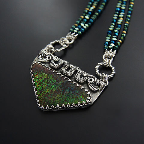 Aztec,Snake,|,Silver,&,Ammolite,Ethnic,Necklace,Silver Ethnic Necklace, Ammolite necklace, bohemian fashion shop