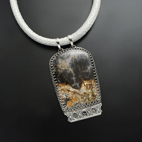 Enchanted,Forest,On,The,Cliff,|,Silver,Dendritic,Agate,&,Iolite,Pendant,Necklace,Silver Dendritic Agate Necklace, iolite pendant, boho style shop