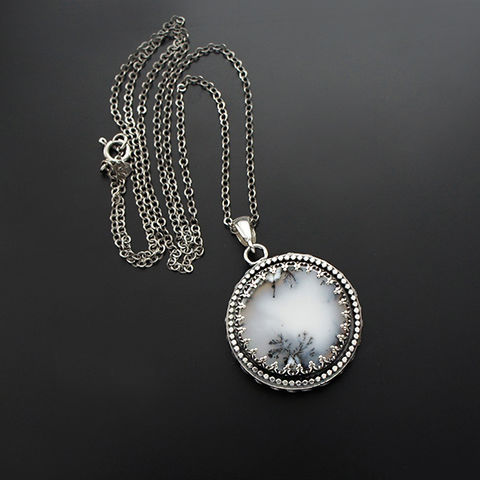 On,The,Other,Side,Of,Silence,|,Silver,Two-sided,Pendant,With,Moonstone,&,Dendrite,Opal,Silver Two-sided Pendant, moonstone pendant, dendrite opal jewellery