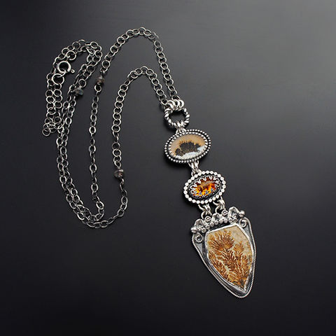 The,Awakening,Of,Meadows,|,Silver,Amber,&,Gemstone,Pendant,Necklace,Silver Amber Pendant, dendrite stone necklace, artisan jewellery shop