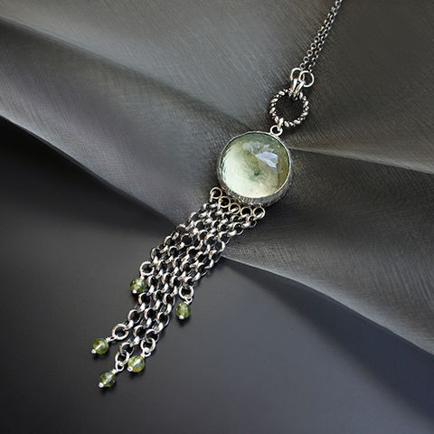 The,Compass,From,Forest,Sources,|Silver,Prasiolite,&,Olivine,Pendant,Silver Prasiolite Pendant, olivine necklace, bohemian jewellery shop