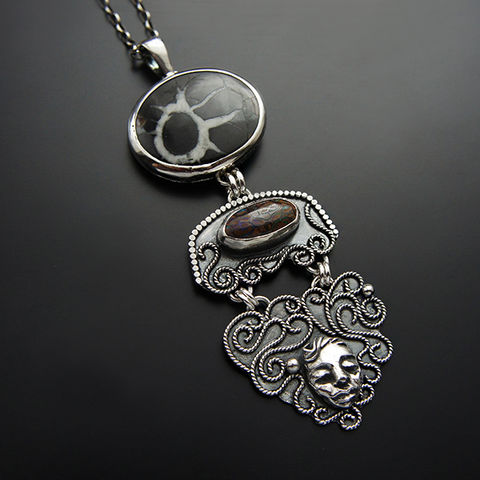 The,Shaman,Of,Time,|,Silver,Boulder,Opal,&,Septarian,Pendant,Necklace,Silver Boulder Opal Pendant, sectarian necklace, modernist style, where to buy opal jewellery