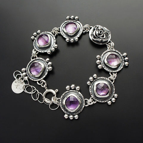 The,Smell,Of,Violets,|,Silver,Amethyst,Statement,Bracelet,Amethyst Statement Bracelet, silver segment bracelet, chick jewellery