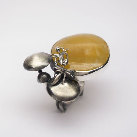 Found,In,The,Forest,|,Silver,Gold,Calcite,Ring