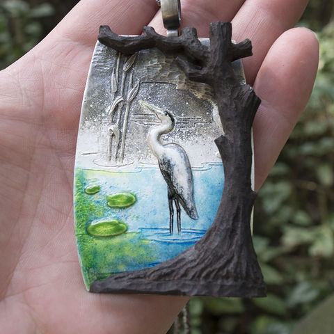 Heron,|,Repoussed,Silver,Enamelled,&,Sculpted,Ebony,Pendant