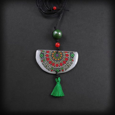 RAINBOW,MOON,MANDALA,|,ALUMINIUM,PENDANT,NECKLACE,WITH,MINI,TASSEL