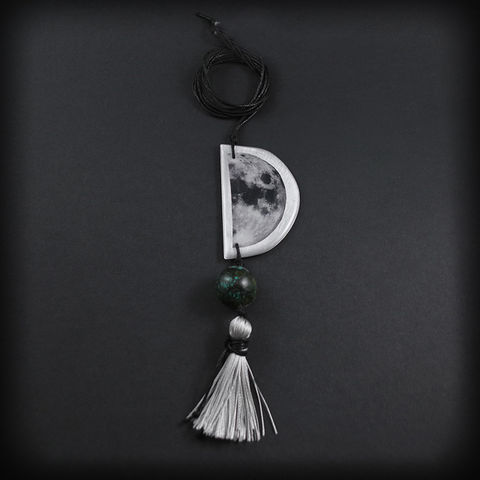 CRESCENT,MOON,T,|,ALUMINIUM,PENDANT,NECKLACE,WITH,TURQUOISE