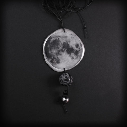 FULL,MOON,|,LONG,ALUMINIUM,&,RESIN,PENDANT,NECKLACE,WITH,STONES