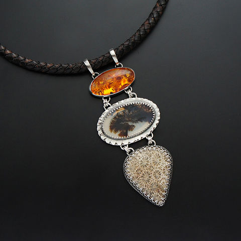 The,Wind,In,Trees,|,Silver,Amber,,Dendrite,Quartz,&,Coral,Fossil,Necklace,Silver Amber Pendant, dendrite stone necklace, online jewellery shop