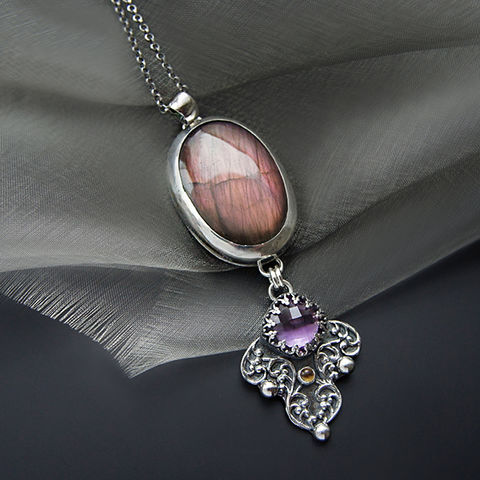Under,The,Eyelid,Of,Night,|,Silver,Purple,Labradorite,&,Amethyst,Necklace,Purple Labradorite Necklace, silver amethyst pendant, elegant jewellery shop