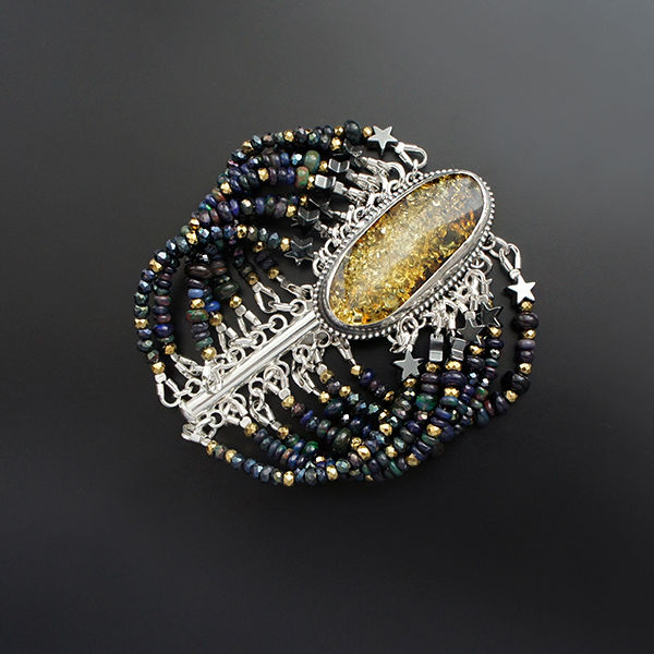 The Dust From The Stars | Silver & Amber Bracelet With Gemstones