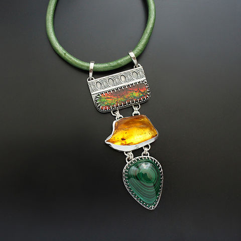 Story,Of,The,Old,Forest,|,Silver,Amber,&,Gemstones,Choker,Necklace,Silver AmberPendant, gemstones jewellery, leather choker