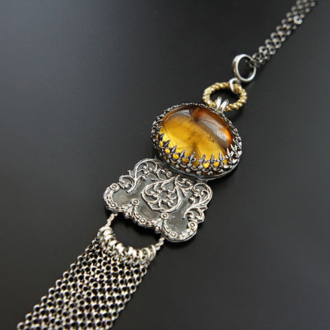 View,From,The,Sun,|,Silver,&,Citrine,Tassel,Pendant,Necklace,Tassel Pendant, Silver citrine Necklace, boho style
