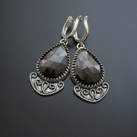 Going,On,The,Roads,Of,Stars,|,Silver,Garnets,Drop,Earrings,Garnet Drop Earrings, silver earrings, bohemian store