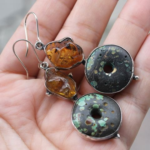 Silver,Earrings,With,Amber,&,Turquoise,Silver Amber Earrings, turquoise long earrings, boho trends