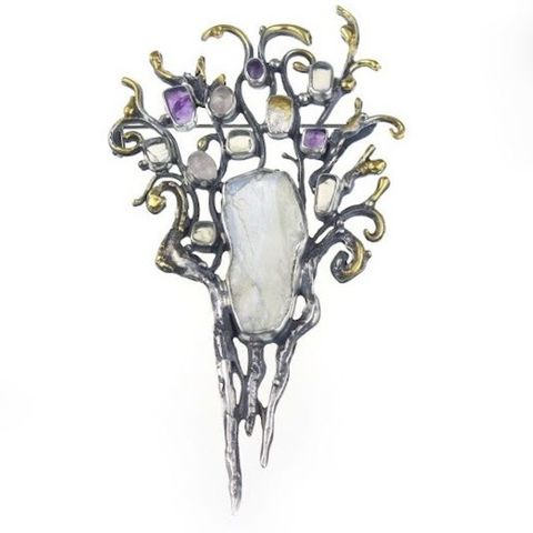 Art,Nouveau,SILVER,BROOCH,With,MOONSTONE,Silver Moonstone Brooch, art nouveau brooch, gemstone bespoke jewellery