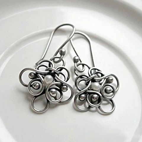 Femini,|,Silver,Earrings,With,Pearls,Silver Earrings With Pearls, Handmade Jewellery, Bridal Silver Jewellery London