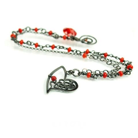 NAROO,|,Sterling,Silver,Chain,Bracelet,With,Coral,And,Zircon,Sterling Silver Chain Bracelet With Coral And Zircon,  indie jewellery store