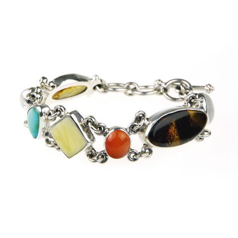 Silver,Narrow,bracelet,With,Amber,&,Gemstones,Silver Amber arrow Bracelet, gemstones jewellery shop London