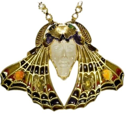 Moth,|,Gold,Plated,Silver,&,Rock,Crystal,Sculptured,Pendant,Necklace,Sculptured Rock Crystal Pendant, silver enamel jewellery, art nouveau jewellery
