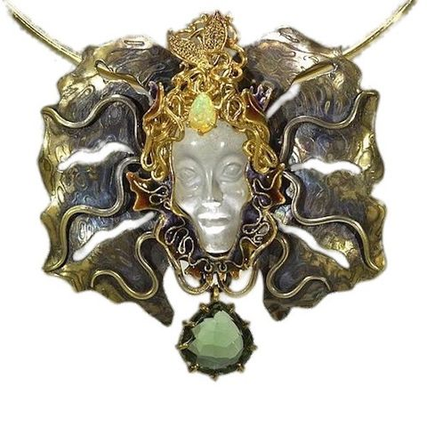 Golden,Mask,|,Rock,Crystal,&,Mokume,Gane,Sculptured,Pendant,Necklace,Sculptured pendant, mokume gane necklace, glided mask necklace