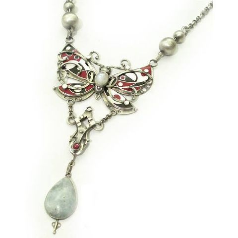 Papillon,|,SILVER,ENAMELLED,NECKLACE,With,GEMSTONES,Silver Enamelled Necklace With Gemstones, unique fine jewellery