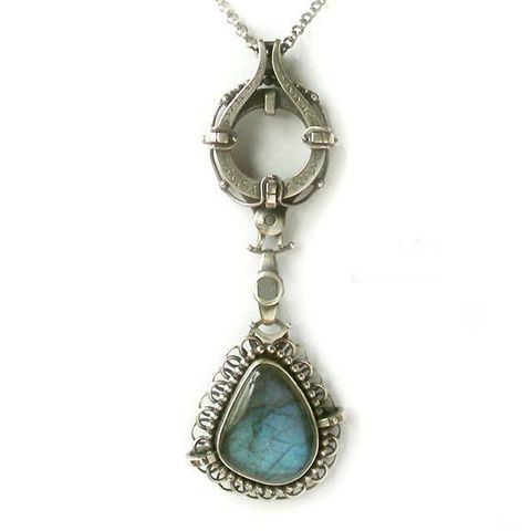 Industrial,Orient,|,STERLING,SILVER,LABRADORITE,PENDANT,NECKLACE,labradorite necklace uk, chunky silver necklace, oriental jewelry, industrial jewellery design