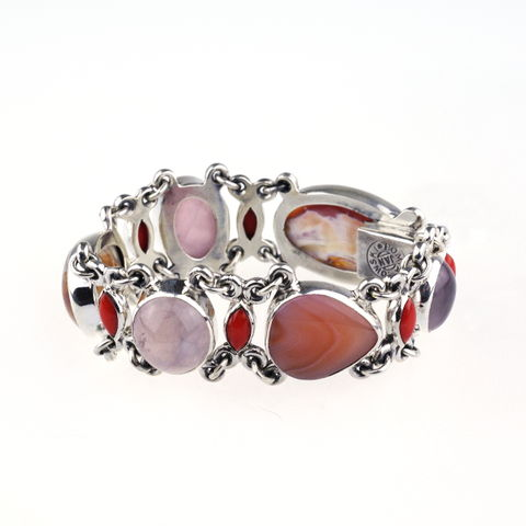 Silver,Narrow,Bracelet,With,Botswana,Agate,,Coral,&,Rose,Quartz,Silver agate Bracelet, coral bracelet, luxury jewellery in London, gift for her