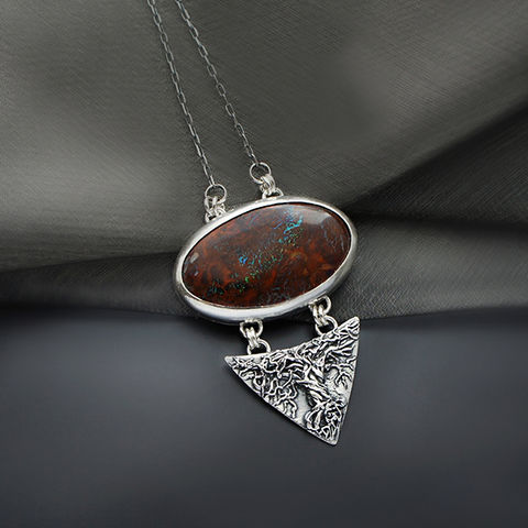 Silver,Pendant,With,Boulder,Opal,Silver Pendant, boulder opal necklace, artisan jewellery shop London, gift for her