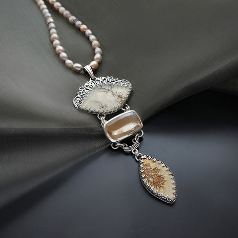 Silver,Necklace,With,Rutile,Quartz,,Psilomelane,&,Dendrite,Quartz,Rutile Quartz pendant, silver jewellery London, gift for her